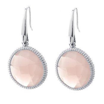 Viva oorhangers rond roze | zilverkleurig