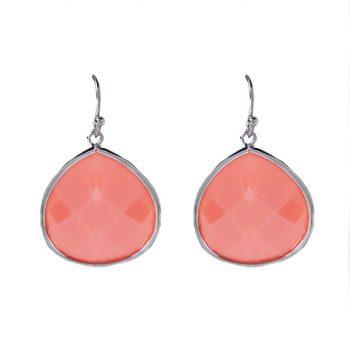 Viva oorhangers druppel roze| zilverkleurig 38 mm