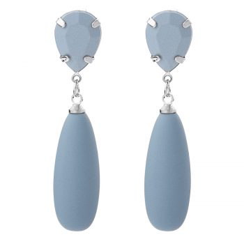 Blauwe oorhanger Viva druppel rubberachtig materiaal