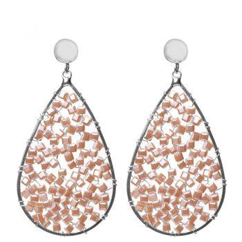 Biba crystal kraaltjes oorbellen beige-taupe 80901mix6
