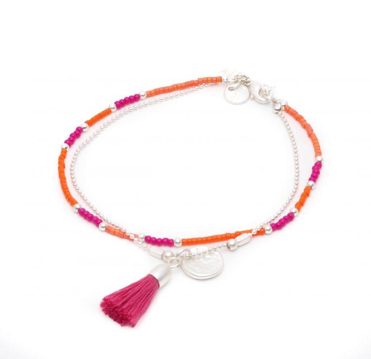 Biba enkelbandje zilverkleurig-oranje roze kwastje