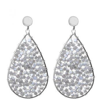 Biba oorbellen grijze kristal-kraaltjes