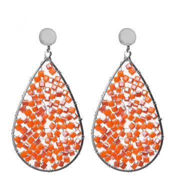 Biba oorbellen oranje kristal-kraaltjes