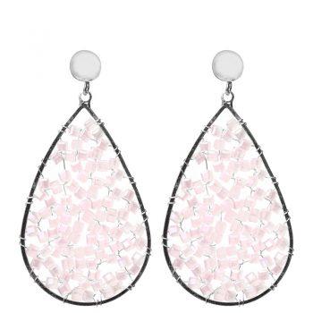 Biba oorbellen roze kristal-kraaltjes