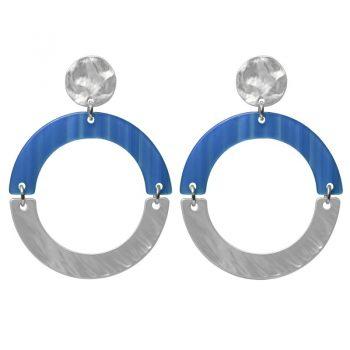 Biba oorbellen donker blauw-zilverkleurig ronde hanger