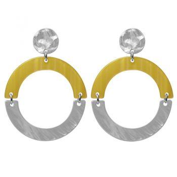 Biba oorbellen geel-zilverkleurig ronde hanger