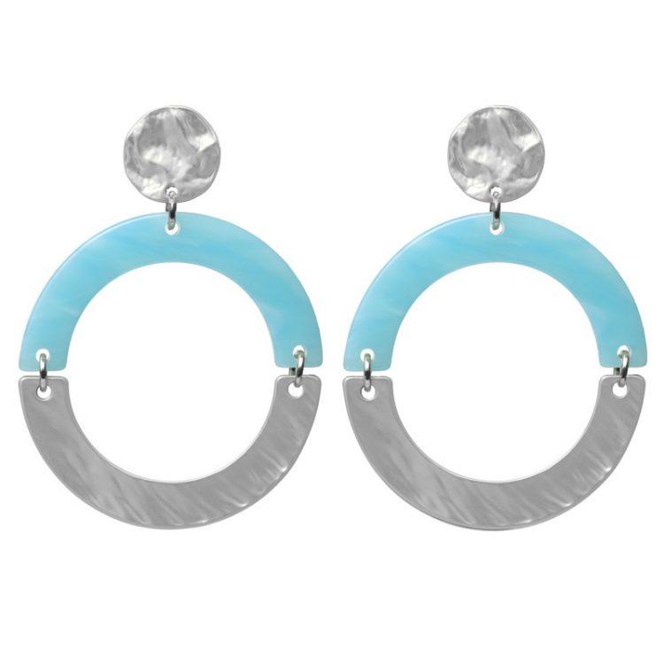 Biba oorbellen blauw-zilverkleurig ronde hanger