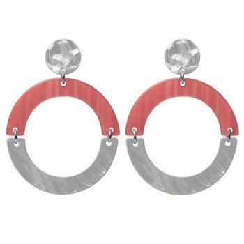Biba oorbellen rond roze-zilverkleurig kunsthars-metaal 80980mix26