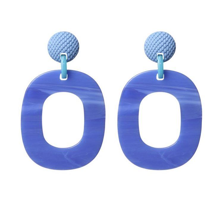 Biba oorbellen fel blauw-resin