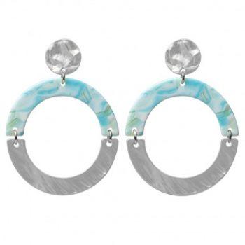 Biba ronde oorhangers blauw-groen metaal kunsthars 80980mix15