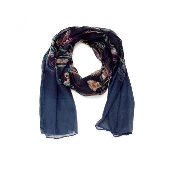 Biba sjaal donderblauw bewerkt - lang model 90 x 180 cm