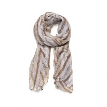 Biba sjaal bruin witte strepen
