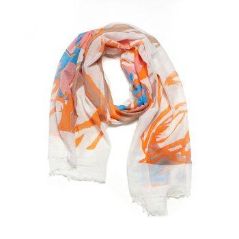 Biba sjaal wit oranje blauw gekleurd