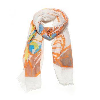 Biba sjaal wit geel bruin gekleurd