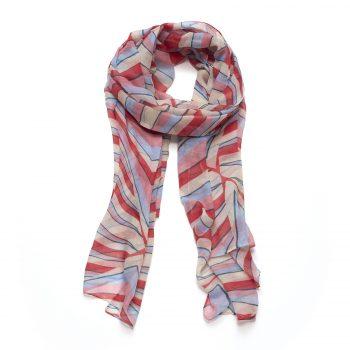 Biba sjaal gekleurde strepen roze, blauw creme