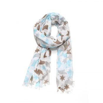 Biba sjaal blauw bruin met sterren