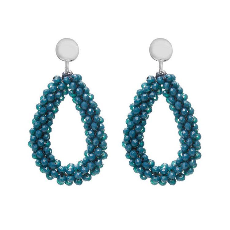 Biba oorbellen patroon blauwe kralen druppel