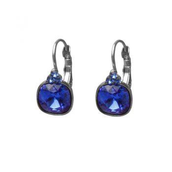 Biba oorbellen Swarovski blauw vierkante steen