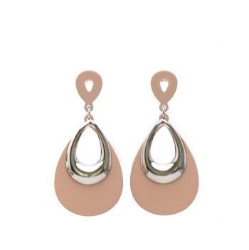 Viva fashion bruine oorbellen rubber-zilverkleurig