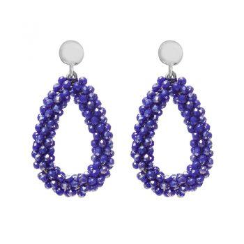 Biba oorbellen blauw-metallic kralen druppel