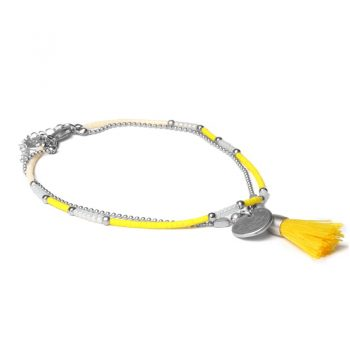Biba enkelbandje zilverkleurig-geel kwastje