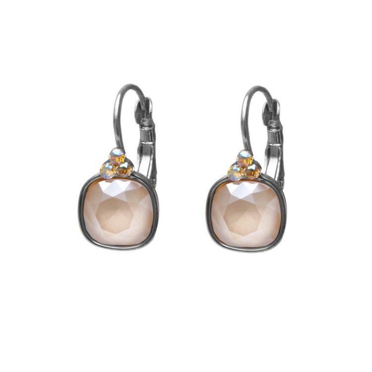 Biba oorbellen Swarovski ivoor vierkante steen