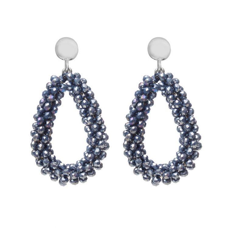 Metallic-blauw kralen oorbellen Biba 80719mix4