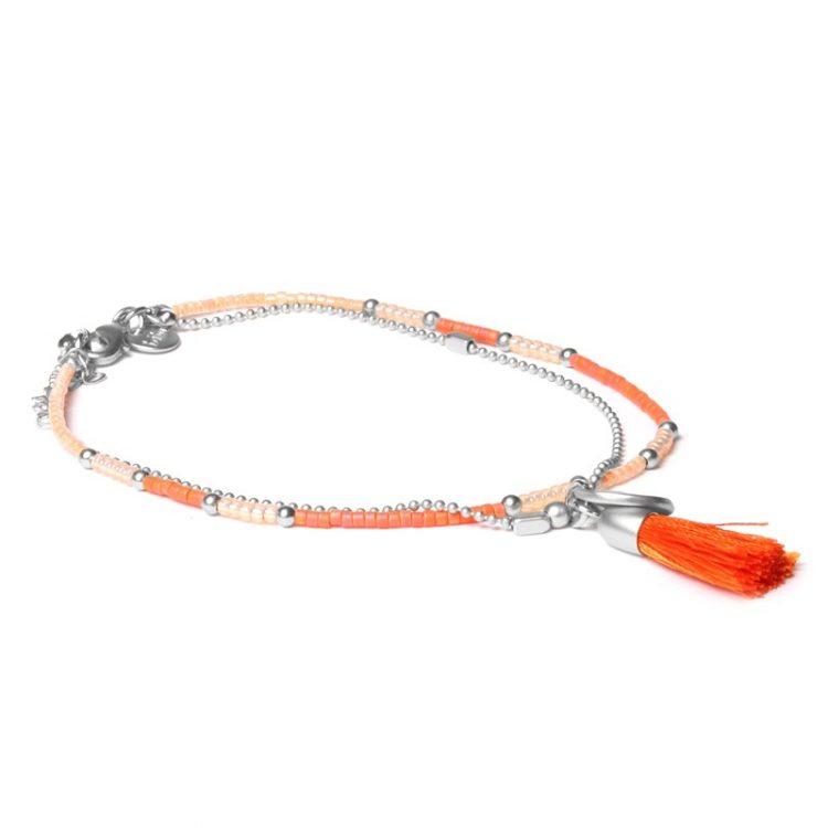 Biba enkelbandje zilverkleurig-oranje kwastje