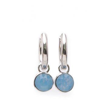 Viva fashion creolen blauw steentje| 18 mm