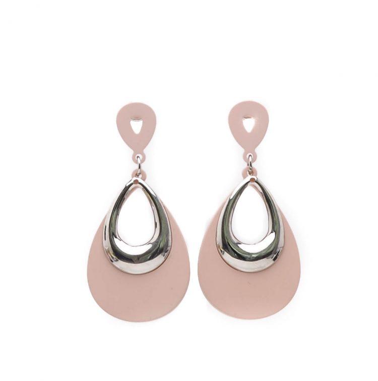 Viva fashion roze oorbellen rubber-zilverkleurig