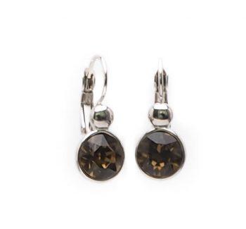 Viva fashion oorbellen bruin glazen steen zilverkleurig