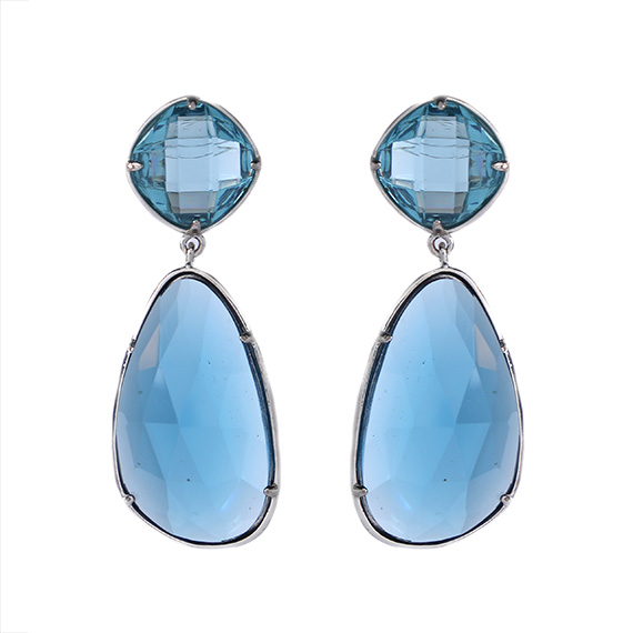 Viva oorbellen licht blauwe kristallen steen