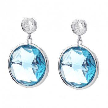 Viva oorsteker blauw kristal | zilverkleurig