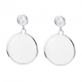 Viva oorsteker white opal kristal