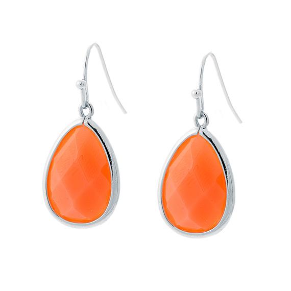 Viva oorhangers druppel oranje  zilverkleurig