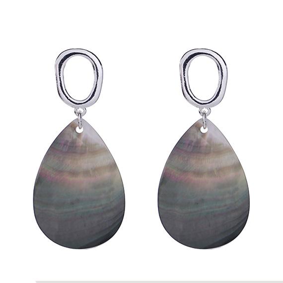 Viva oorbellen zilverkleurig met natuurkleur blad