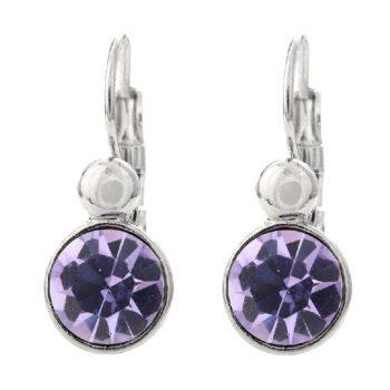 Viva fashion oorbellen zilverkleurige afwerking violet glazen steen