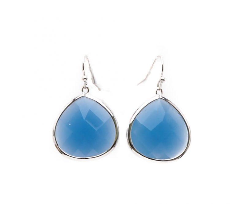 Viva oorhangers druppel blauw| zilverkleurig 38 mm