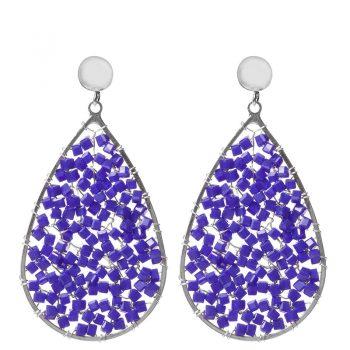 Biba oorbellen blauwe kristal-kraaltjes