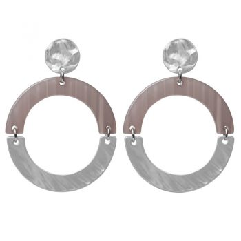 Biba oorbellen grijs-zilverkleurig ronde hanger