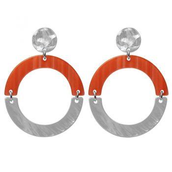 Biba oorbellen oranje-zilverkleurig ronde hanger