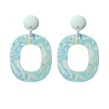 Biba oorbellen blauw groen-resin