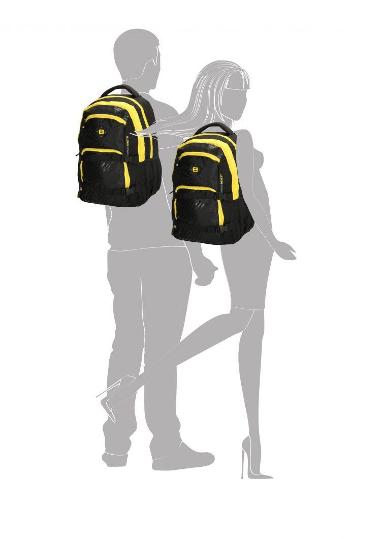 Enrico Benetti zwart-geel - laptop rugtas silhouet