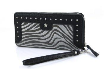 Zebra zwart-grijs portemonnee met polsband