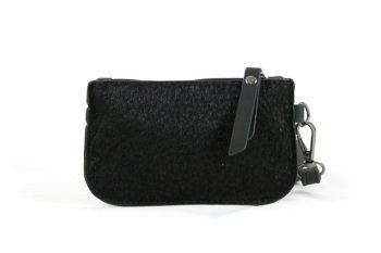 Kleine portemonnee zwart met leopard print