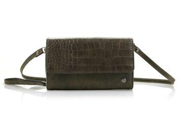 Groen grote portemonnee - schoudertasje met croco klep