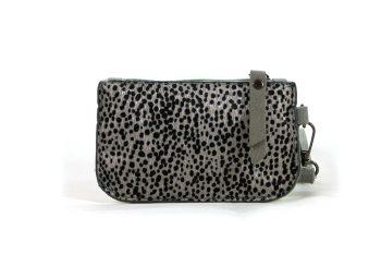 Kleine portemonnee grijs met leopard print