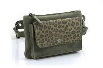 Groen schouder- heuptasje met een stoere look
