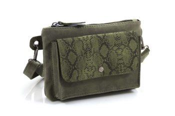 Groene print schouder- heuptasje met een stoere look