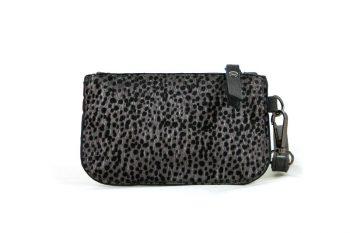 Kleine portemonnee donkergrijs met leopard print